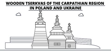 Poland - Wooden Churches In The Carpathian Mountain Area travel famous landmark skyline, panorama vector. Poland - Wooden Churches In The Carpathian Mountain Area linear illustration