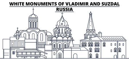 Russia - White Monuments Of Vladimir And Suzdal travel famous landmark skyline, panorama vector. Russia - White Monuments Of Vladimir And Suzdal linear illustration 스톡 콘텐츠