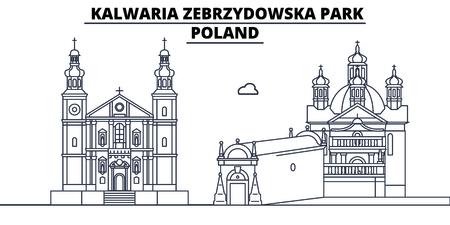 Poland - Kalwaria Zebrzydowska Park travel famous landmark skyline, panorama vector. Poland - Kalwaria Zebrzydowska Park linear illustration