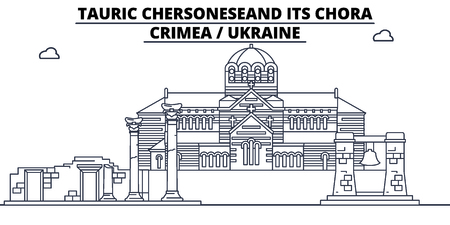 Russia - Crimea, Tauric Chersonese And Its Chora travel famous landmark skyline, panorama vector. Russia - Crimea, Tauric Chersonese And Its Chora linear illustration Фото со стока - 113531769
