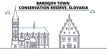 Slovakia - Bardejov Town, Conservation Reserve travel famous landmark skyline, panorama vector. Slovakia - Bardejov Town, Conservation Reserve linear illustration Stock fotó - 113531770