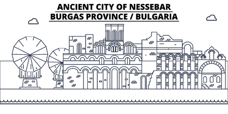Bulgaria - Burgas, Nessebar   travel famous landmark skyline, panorama vector. Bulgaria - Burgas, Nessebar   linear illustration Stok Fotoğraf