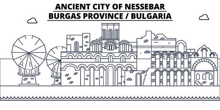 Bulgaria - Burgas, Nessebar   travel famous landmark skyline, panorama vector. Bulgaria - Burgas, Nessebar   linear illustration Stock Photo