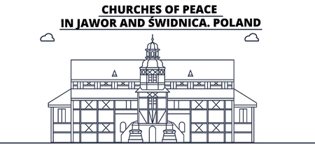 Poland - Jawor And Swidnica, Churches Of Peace travel famous landmark skyline, panorama vector. Poland - Jawor And Swidnica, Churches Of Peace linear illustration