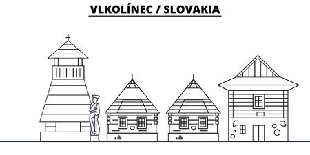 Slovakia - Vlkolinec travel famous landmark skyline, panorama vector. Slovakia - Vlkolinec linear illustration
