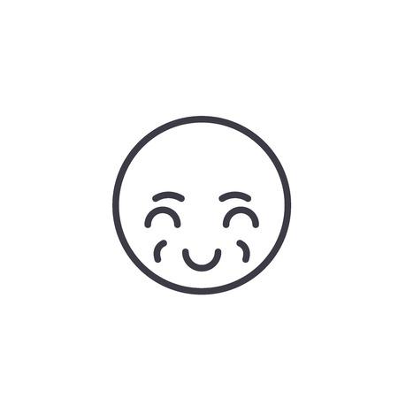 Sly Emoji concept line editable vector concept icon. Sly Emoji concept linear emotion illustration