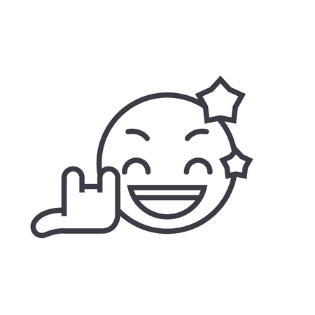 Rock Star Emoji concept line editable vector concept icon. Rock Star Emoji concept linear emotion illustration Foto de archivo - 113001829
