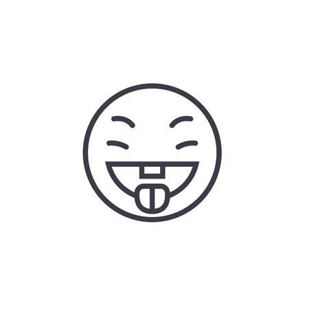 Savoring Food Emoji concept line editable vector concept icon. Savoring Food Emoji concept linear emotion illustration