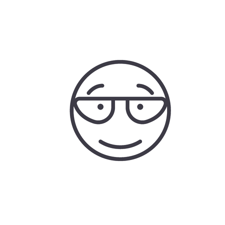 Scientist Emoji concept line editable vector concept icon. Scientist Emoji concept linear emotion illustration Ilustração