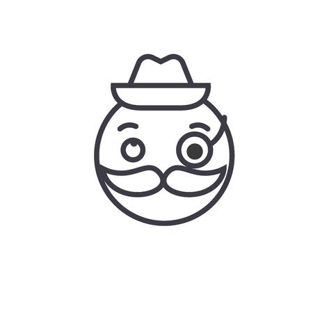 Gentlemen Emoji concept line editable vector concept icon. Gentlemen Emoji concept linear emotion illustration