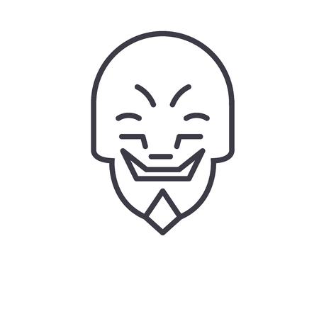 Grimacing Mask Emoji concept line editable vector concept icon. Grimacing Mask Emoji concept linear emotion illustration