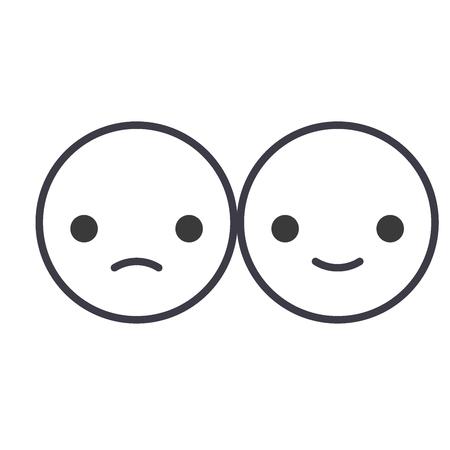 Happy And Sad Emoji concept line editable vector concept icon. Happy And Sad Emoji concept linear emotion illustration
