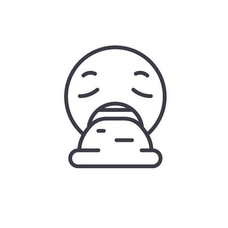 Vomit Emoji concept line editable vector concept icon. Vomit Emoji concept linear emotion illustration