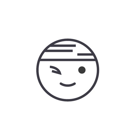 Winking Chinese Emoji concept line editable vector concept icon. Winking Chinese Emoji concept linear emotion illustration Stok Fotoğraf - 113531787