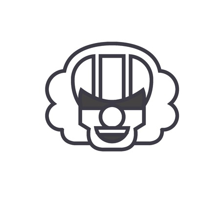 Killer Clown Emoji concept line editable vector concept icon. Killer Clown Emoji concept linear emotion illustration