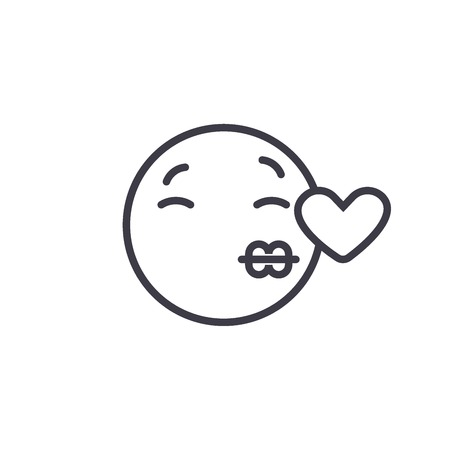 Kissing Emoji concept line editable vector concept icon. Kissing Emoji concept linear emotion illustration Reklamní fotografie - 113001562
