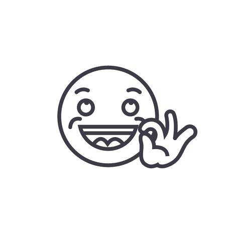 Looking Good Emoji concept line editable vector concept icon. Looking Good Emoji concept linear emotion illustration Illusztráció