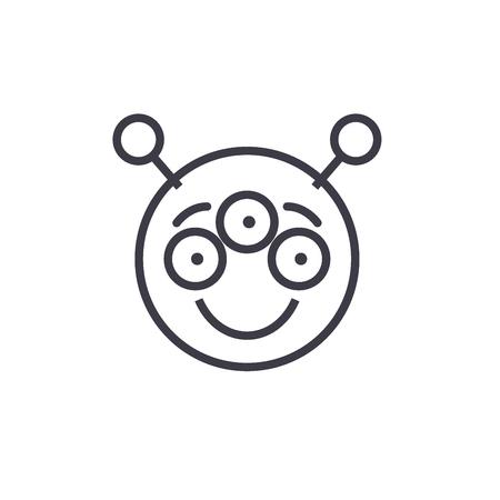 Alien Emoji concept line editable vector, concept icon. Alien Emoji concept linear emotion illustration
