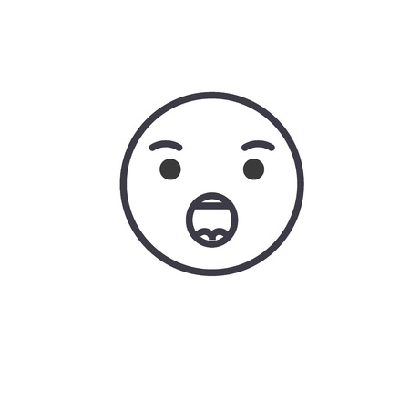 Anguished Emoji concept line editable vector, concept icon. Anguished Emoji concept linear emotion illustration
