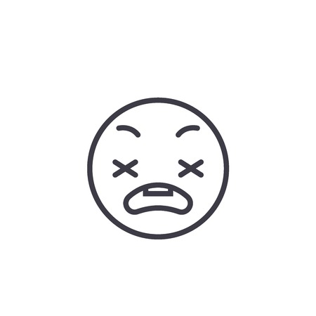 Anxious Emoji concept line editable vector concept icon. Anxious Emoji concept linear emotion illustration Ilustrace