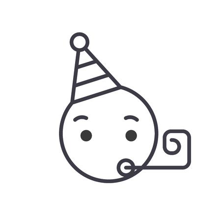 Celebrating Emoji concept line editable vector concept icon. Celebrating Emoji concept linear emotion illustration Çizim