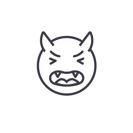 Devil Emoji concept line editable vector concept icon. Devil Emoji concept linear emotion illustration