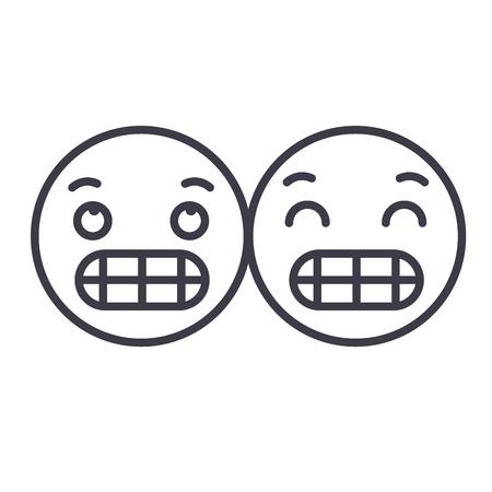 Grimacing Emoji concept line editable vector concept icon. Grimacing Emoji concept linear emotion illustration