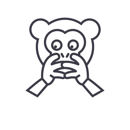 Hear No Evil Emoji concept line editable vector concept icon. Hear No Evil Emoji concept linear emotion illustration