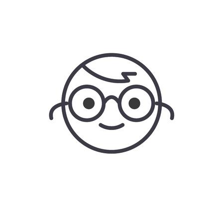 Nerdy Emoji concept line editable vector concept icon. Nerdy Emoji concept linear emotion illustration Vektorové ilustrace