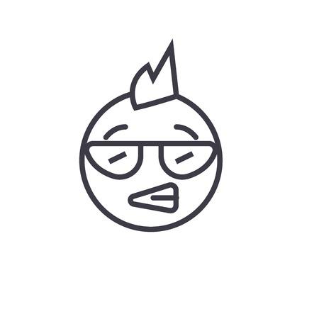 Punk Emoji concept line editable vector concept icon. Punk Emoji concept linear emotion illustration