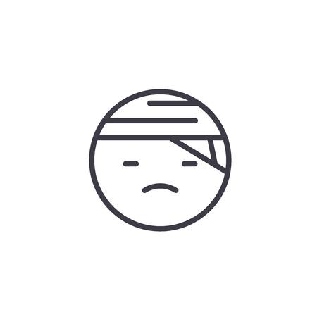 Sick Emoji concept line editable vector concept icon. Sick Emoji concept linear emotion illustration Illustration