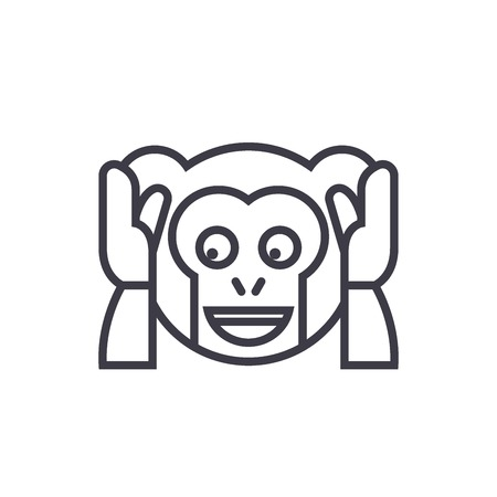Speak No Evil Emoji concept line editable vector concept icon. Speak No Evil Emoji concept linear emotion illustration
