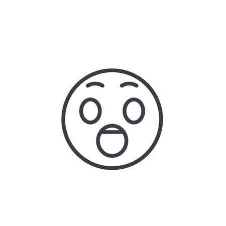 Surprised Emoji_1 concept line editable vector concept icon. Surprised Emoji_1 concept linear emotion illustration