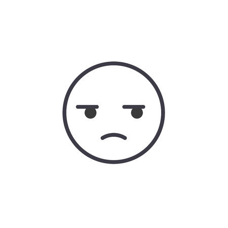 Suspicious Emoji concept line editable vector concept icon. Suspicious Emoji concept linear emotion illustration