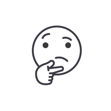 Thinking Emoji concept line editable vector concept icon. Thinking Emoji concept linear emotion illustration Illustration