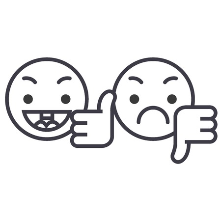 Thumbs Up, Down Emoji concept line editable vector concept icon. Thumbs Up, Down Emoji concept linear emotion illustration Imagens - 127219242