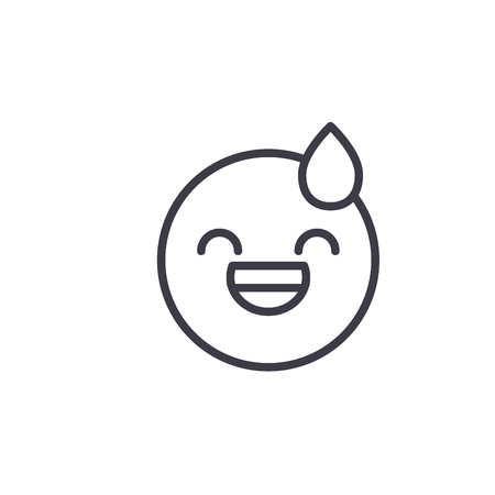 Tired Emoji concept line editable vector concept icon. Tired Emoji concept linear emotion illustration