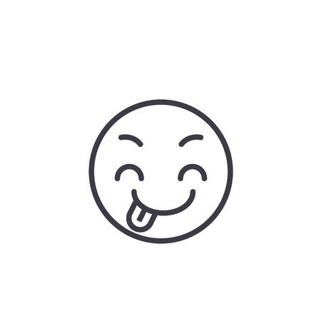 Tricky Emoji concept line editable vector concept icon. Tricky Emoji concept linear emotion illustration