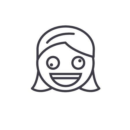 Zany Face Emoji concept line editable vector concept icon. Zany Face Emoji concept linear emotion illustration Illustration