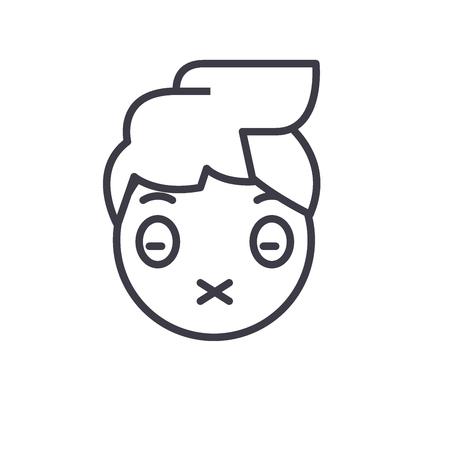 Zipped Mouth Emoji concept line editable vector concept icon. Zipped Mouth Emoji concept linear emotion illustration