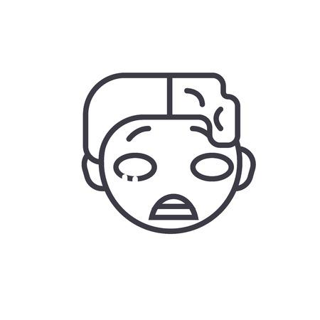 Zomby Emoji concept line editable vector concept icon. Zomby Emoji concept linear emotion illustration Illustration