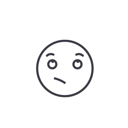 Wistful Emoji concept line editable vector concept icon. Wistful Emoji concept linear emotion illustration