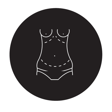 Icona di concetto di vettore nero di addominoplastica. Addominoplastica figura piana, segno, symbol