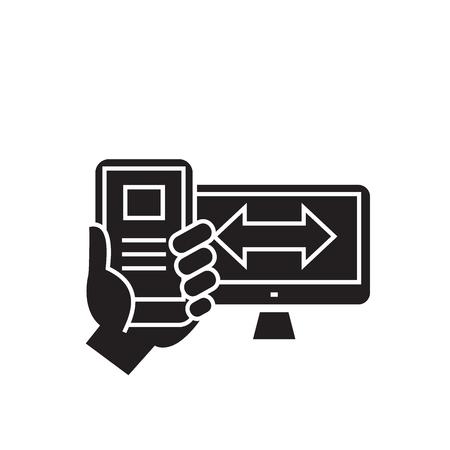 Adaptive design black vector concept icon. Adaptive design flat illustration, sign, symbol Illustration