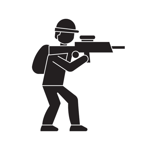Aiming soldier black vector concept icon. Aiming soldier flat illustration, sign, symbol Stock Vector - 113693610