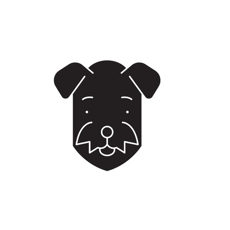 Airedale  black vector concept icon. Airedale  flat illustration, sign, symbol Illustration