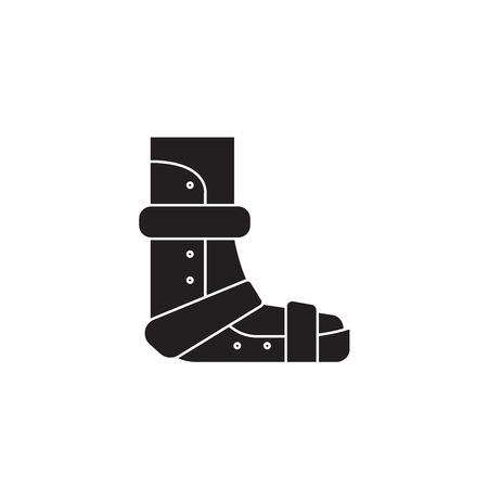 Applying gypsum black vector concept icon. Applying gypsum flat illustration, sign, symbol