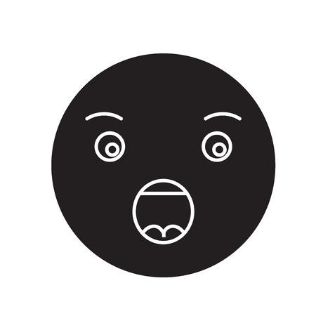 Anguished emoji black vector concept icon. Anguished emoji flat illustration, sign, symbol Ilustração