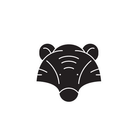 Badger head black vector concept icon. Badger head flat illustration, sign, symbol Ilustrace