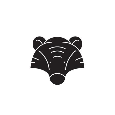Badger head black vector concept icon. Badger head flat illustration, sign, symbol Illustration